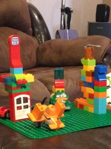 One of Grant's creations....he has really enjoyed his new Duplo Legos!